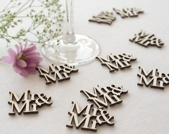 Wedding table confetti. Rustic boho wooden scatter 'Mr & Mr' cut out text. Gay wedding Civil Partnership LGBT L72