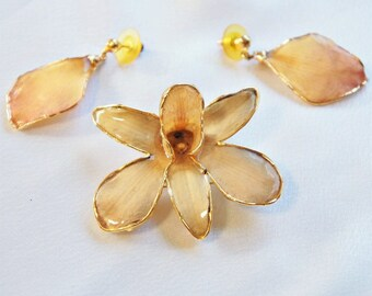 Vintage Orchid Pendant Pin with Petal Dangle Post Earrings Gold Trim Demi Parure