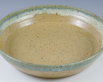 Large Pottery Bowl, Rustic Centerpiece  Bowl, Kitchen Gift Pottery Casserole, Low Fruit Bowl, Ceramic Bowl, 9 Inch Handmade Baking Bowl