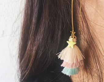 Long brass earrings with cotton tassel and starlet
