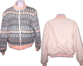 80's Tribal Print Reversible Sweater Jacket, Vintage Women's Size Large Jacket, Retro Jacket, Reversible Coat, Aztec Print Jacket