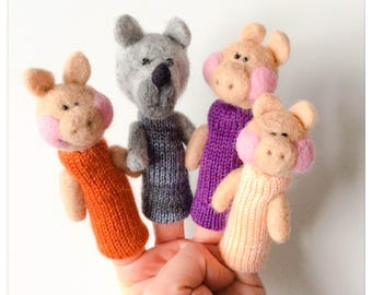 Finger puppets The Three Little Pigs/puppet three little pigs wool