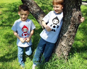 Alice's Adventure in Wonderland - 2 Kids T-shirt Combo - The Trumps Spade & Heart - Children's Clothing - Gift