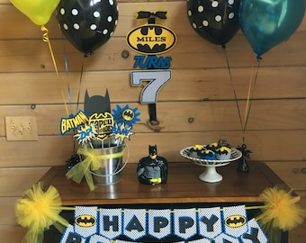 Batman Inspired Personalized Party Set - Banner, Door Sign, Cupcake Wraps, & Photo Booth Props