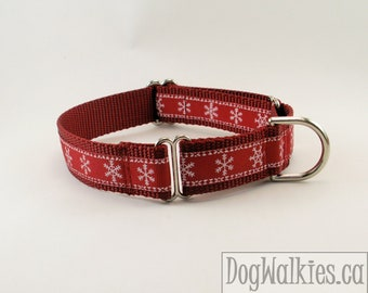 """Snowflakes on Red - 1"""" (25mm) Wide - Christmas Dog Collar - Choice of collar style and size - Martingale Dog Collars or Quick Release Buckle"""