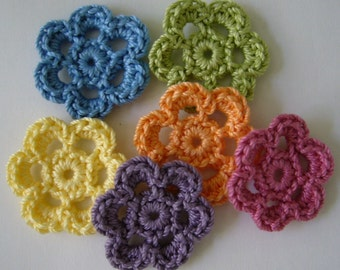 Rainbow of Crocheted Flowers - Six Petal Cotton Flowers - Crocheted Flower Appliques - Crocheted Flower Embellishments - Set of 6