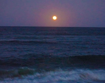 Beach Moon - Ocean Moonrise - Nature Photograph - Matted or Unmatted Fine Art