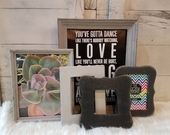 Ombre Gray Set of 5 READY TO SHIP Gallery Wall Frame Set Open or With Glass Collage Wall Frames Farmhouse Christmas Gift