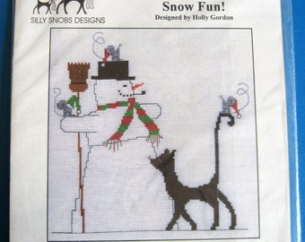 SNOW FUN CAT Silly Snobs Cross Stitch Kit (Holly Gordon Design) Imaginating (Cat & Snowman) Out of Print