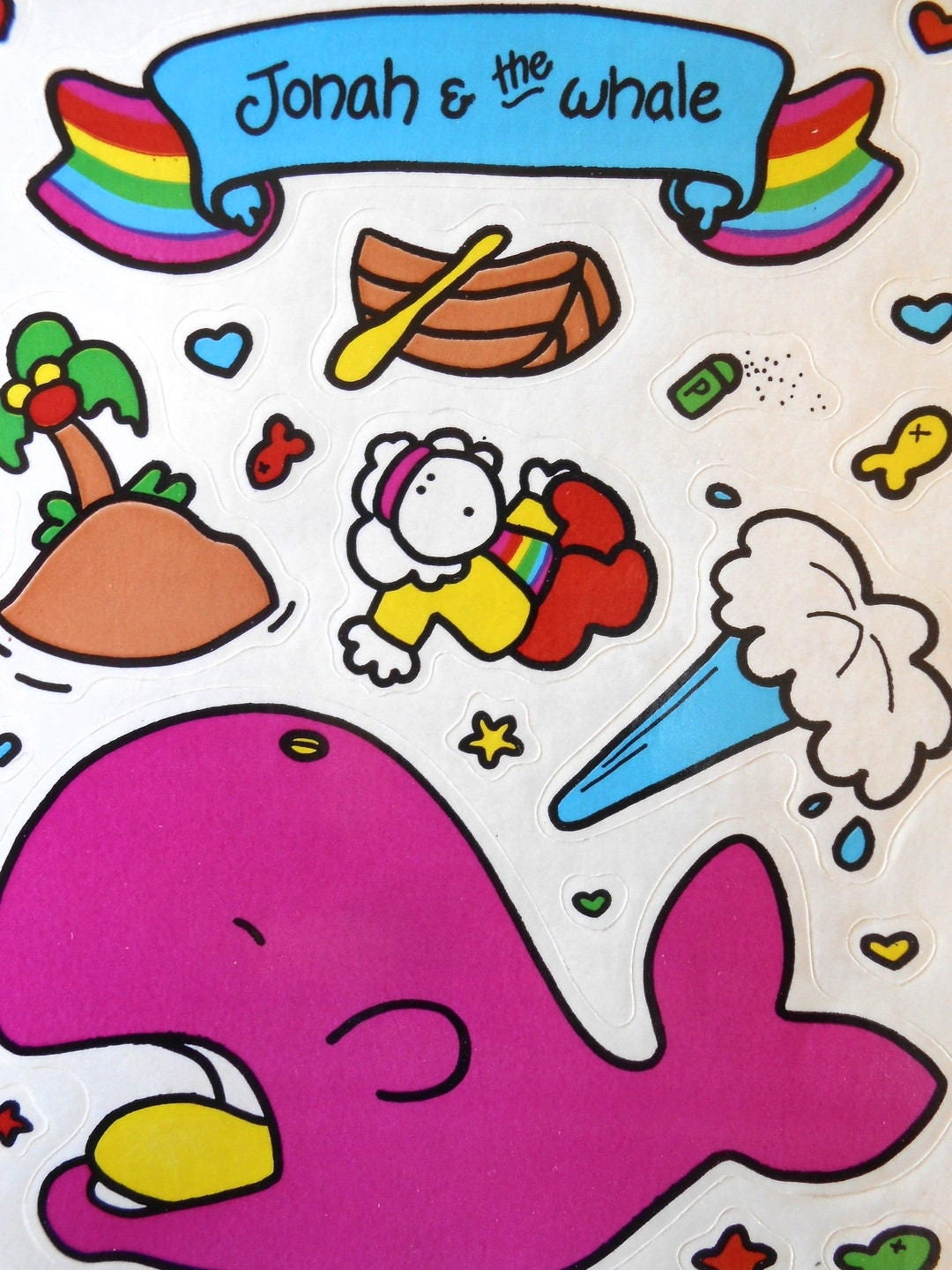 1984 jonah the whale sticker sheets sonrise creations bible sold by redberrysupplies m4hsunfo