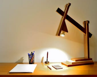desk lamp, Iroko and Fraké, polished finish, lighting LED