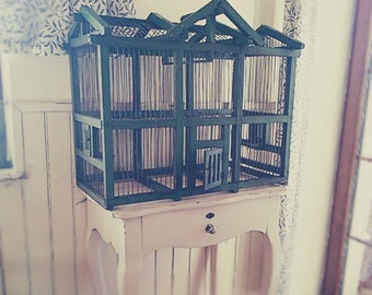 A large green bird cage, Birdcage, bird, vintage, kitchen, shabby chic,container, Vintage Boxes,