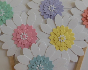 Flower Cupcake Toppers - White Daisies with Pastel Centers - Birthday Decorations - Bridal Showers - Baby Showers - Set of 6