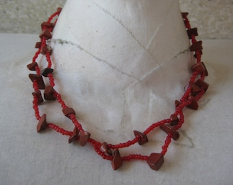 Red Rust Stone Necklace Seed Bead Two Strand Vintage