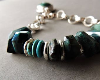 Heavy Sterling Silver Bracelet, Chrysocolla Bracelet, Silver Bezel and Gemstone, Artisan Jewelry, Rustic Handcrafted, Handmade Silver Chain