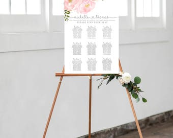Blush Floral Wedding Seating Chart, Floral Seating Chart, Seating Chart Template, Wedding Seating Chart, Personalized Seating Chart