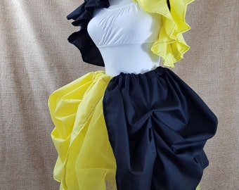 Witch Wizard Yellow And Black Knee Length Tie On Bustle Skirt-One Size Fits All