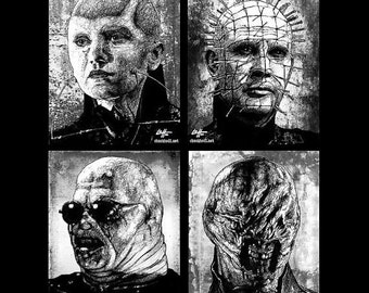 "Prints 11x14"" - Cenobites - Hellraiser Cenobite Horror Dark Art Needles Science Fiction Leviathan Box Evil Monster Creature Clive Barker"