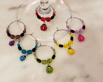 Lady Bug Ladybug Wine Charms with Pouch v2