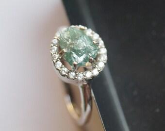 2.25 ct Blue Uncut diamond ring, Blue diamond ring, promise ring, Blue rough diamond ring,Raw Blue diamond ring- Engagement ring- 925 silver