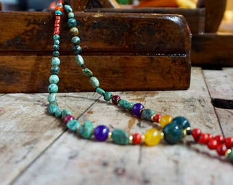 ONE piece only, Mala spiritual beads necklaces stones, turquoise,Indian Agate,