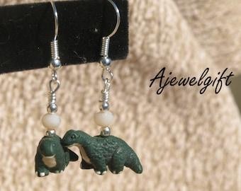 Fun Brontosaurus Dinosaur Earrings 8014