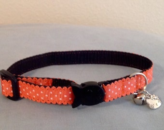 1/2 Wide Custom Made Adjustable Scallopped Edge Coral Polk a Dot Breakaway Cat Collar