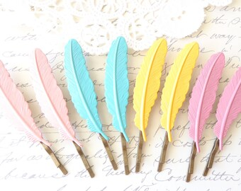 Aqua Enamel Feather Hair Bobby Pins - Enamel Hair Pins - Woodland Collection - Whimsy - Bridal
