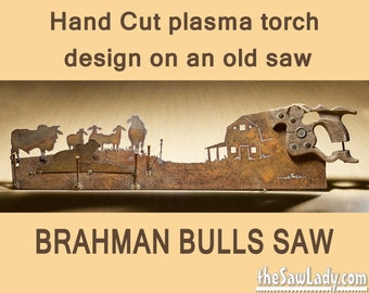 Metal Art Rustic HAND cut handsaw Brahman Bulls, Barn and Fence design | Wall Decor | Recycled Art | Repurposed Made to Order for ranchers
