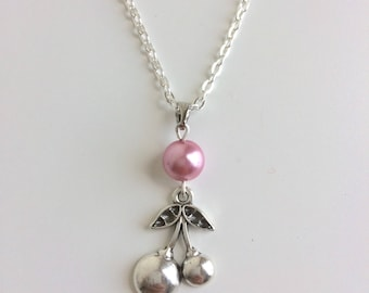 Pink cherry Pearl pendant chain necklace