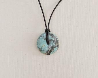 Turquoise Pendant Necklace, Turquoise Donut Stone, Pi Stone Jewelry, Round Turquoise, Arizona Turquoise, Metaphysical Jewelry, Crystal Donut