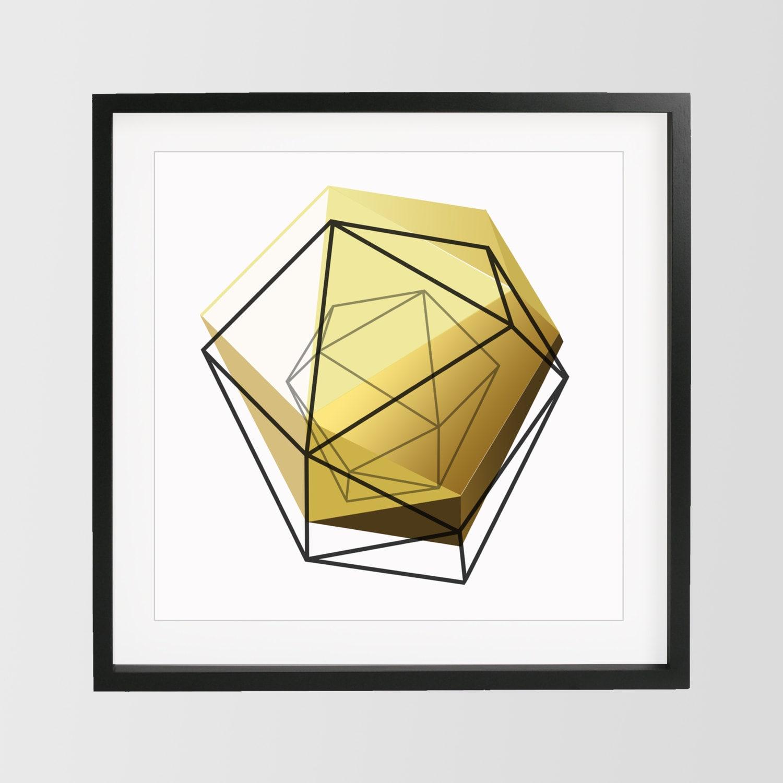 Yellow Gold Geometric Print 3D Art Geometric Art Home Decor