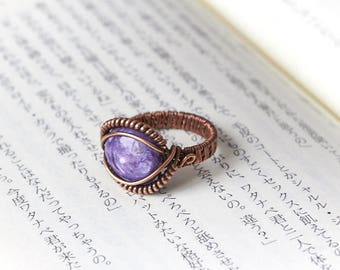 Charoite Wire Wrap Ring, Charoite Copper Ring, Wire Wrapped Ring, Charoite Jewelry, Copper Ring, Boho Ring