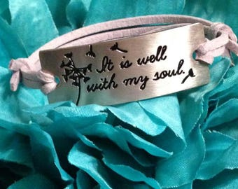 It is Well Diffuser Bracelet, Diffuser Bracelet, It is Well, Inspirational, Religious, Faith, Diffuser, Aromatherapy, Engraved, Dandelion