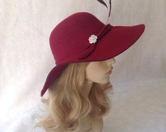 Burgundy Floppy Wide Brim Hat, Wine Red Fedora Hat, Women Floppy Hat, Fall Hat, Winter Hat, Sunhat, Winter Hat,  Magenta Felt hat