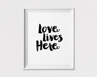 Love lives here, poster, Minimalist print, Wall art, Black and white, housewarming gift, wall decor, Home decor, ArtFilesVicky
