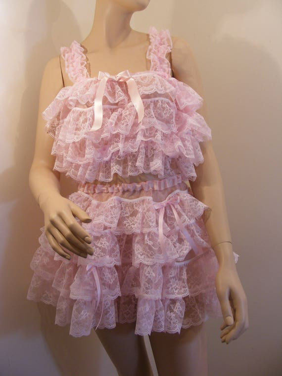 sissy adult baby pink organza ruffle lace top bra cami top lingerie abdl NZxlqVRA