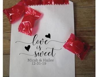 Love is Sweet Wedding Rubber Stamp, Personalized Stamp, Custom Wedding Favor Rubber Stamp,Love is Sweet