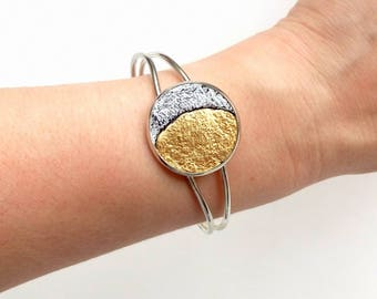 Moon bracelet Inspirational bracelet for women Phases of the moon silver Leather boho cuff Gold and silver cuff bracelet Celestial jewelry