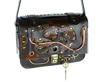 Handcrafted leather steampunk handbag