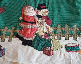 "Vintage Handmade Appliqued Quilted Christmas Tree Skirt 42"" Round Cotton Country Motif Very Cute Free Ship in US"
