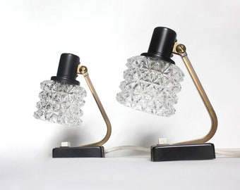 Pair of vintage table lamps, midcentury modern, bedside table lamps, accent lights, black brass ice glass