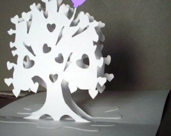 Heart Tree Pop-Up Card 180 degrees & Balloon -NO.7806Purple