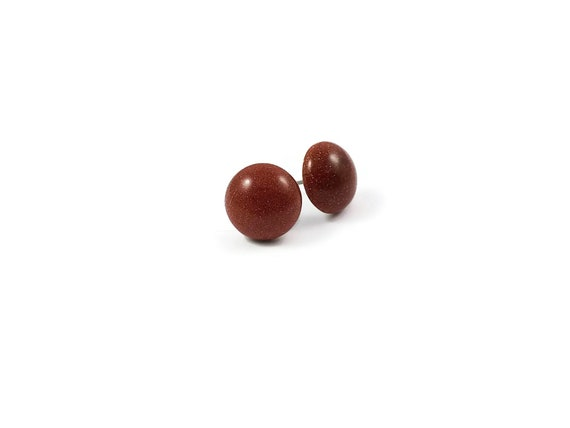 Goldstone stud earrings - Titanium and gemstone