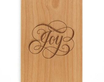 Joy Calligraphy Script Wood Card