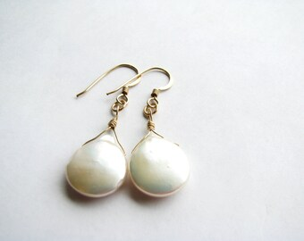 Large White Freshwater Pearl Earrings, Luxe Pearl Teardrop Earrings, 14k Gold Filled Hooks, Minimalist, Ready To Ship, Gift Boxed Bridal