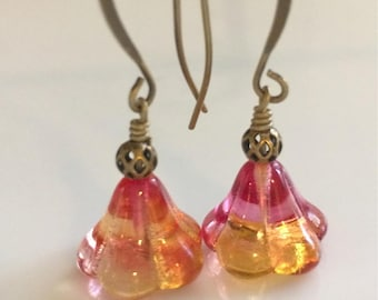Yellow Orange Glass Flower Earrings  Czech Glass  Antiqued Brass
