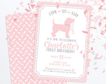 Puppy Party Invitation - Puppy Paw-ty - Paw party - Puppy Birthday Invitation, Pink Puppy Party, First Birthday Invitation, Girl Dog Party