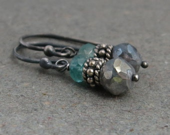 Mystic Labradorite Earrings Aqua Blue Apatite Petite Oxidized Sterling Silver Earrings