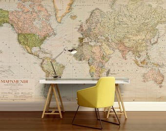 Antique world map etsy world map wall gumiabroncs Images